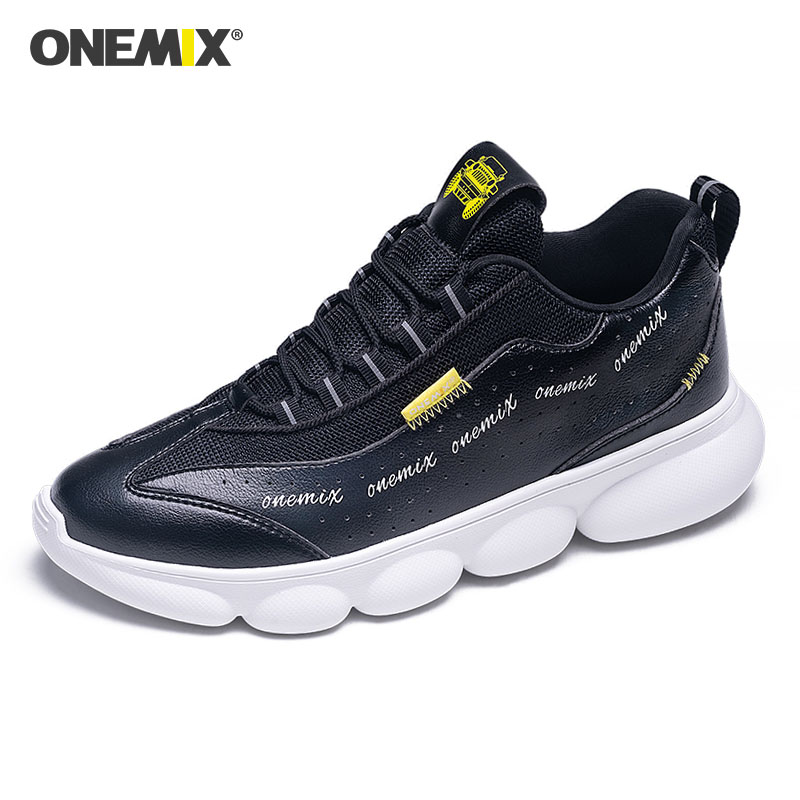 ONEMIX Men Lightweight Sport Running Shoes Black Retro Sneakers Man Shoes Outdoor Trainers Comfort Shoes Winter Tennis Shoes