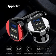 Car USB Charger LED Display Universal Mobile Phone Charger 2 Port USB Fast Car Charger For iPhone Samsung S9 Tablet Car-Charger universal car phone charger 2 port mini dual usb phone charger adapter smart display for iphone for samsung tablet pc cellphone