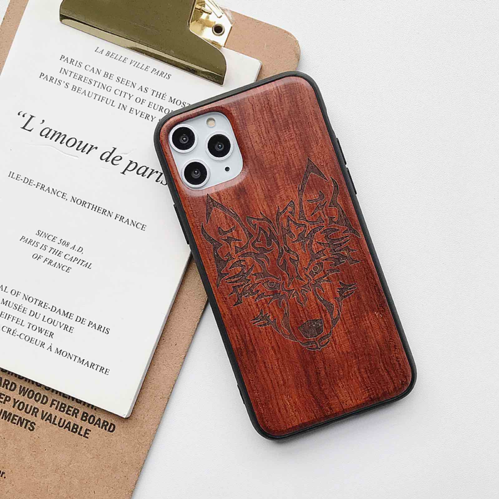Natural Laser Carving Wooden Phone Case For iPhone 12 Pro Max 8
