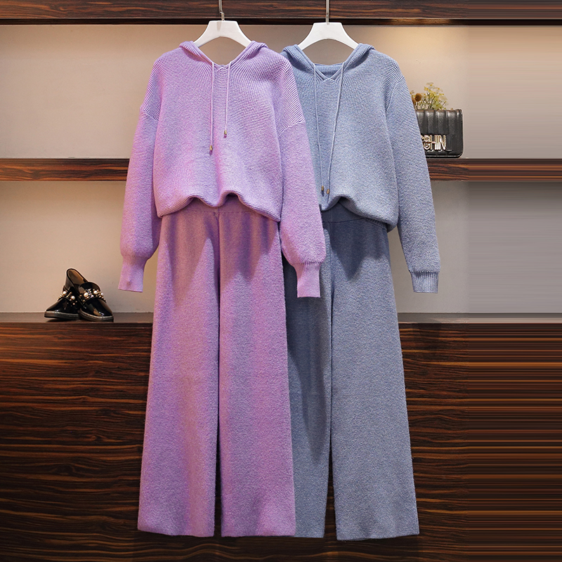 HAMALIEL Autumn Winter Knitted Tracksuits Pants Set Women Hooded Thick Long Sleeve Pullovers + Fashion Wide Leg Trousers Suit