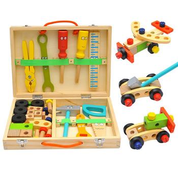 Drewniana skrzynka na narzędzia zestaw narzędzi DIY drewniane symulacja narzędzie do naprawy odpinany konserwacji zestaw zabawek nadaje się do zabawki dla dzieci tanie i dobre opinie CN (pochodzenie) Drewna 3 lat Unisex Narzędzia ogrodowe zabawki Model Simulation disassembly and assembly toys