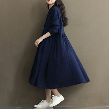 Pleated Cotton and Linen Bat-wing Maternity Dresses 2
