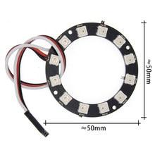 WS2812 anneau de LED 12Bit + fils lumières de conduite intégrées en couleur panneau de développement rond anneau de LED 12 bits pour framboise Pi