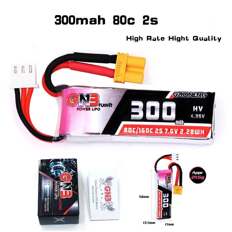 2/5 Uds Gaoneng GNB 2S 7,6 mAh 300 V 80C/160C batería Lipo XT30 para Micro RC FPV Racing Cine Whoop Beta FPV Drone Quadcoper partes