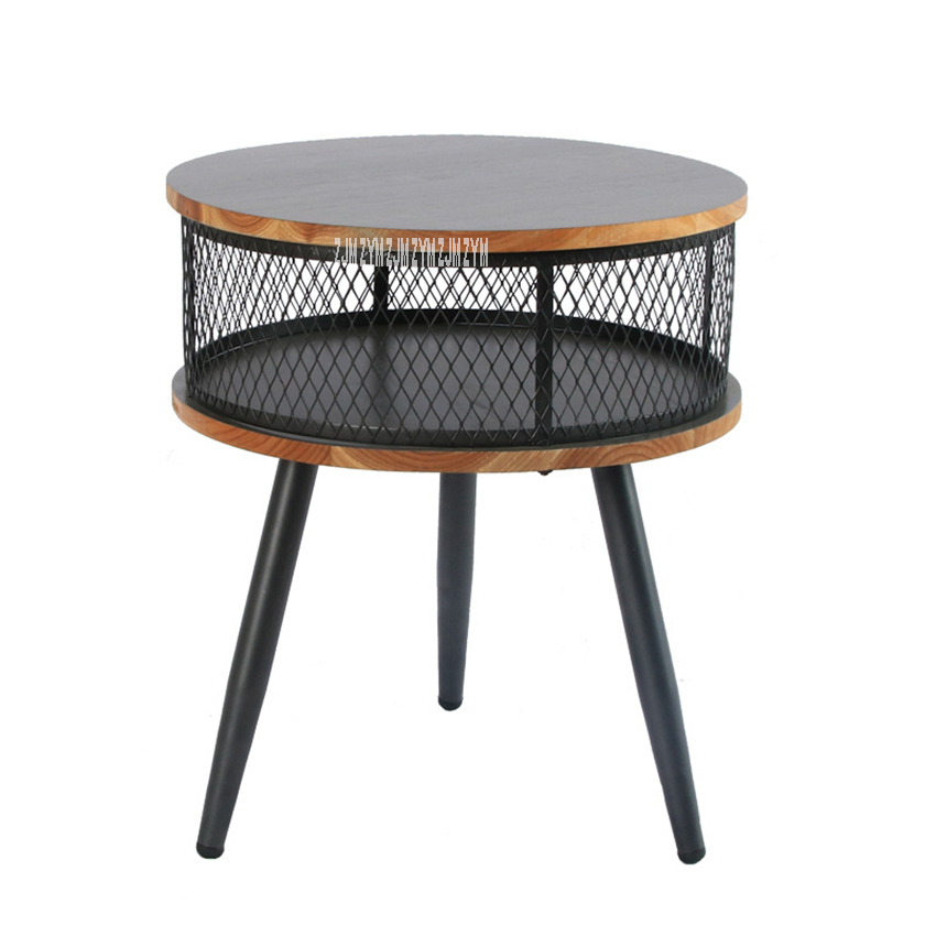 18xs199 Home Solid Wood Iron Leg Eco Friendly Paint Small Round Storage Table Modern Simple Living Room Coffee Sofa Side Table End Tables Aliexpress