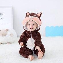 Neugeborenen Baby Onesie Niedlichen Eichhörnchen Baby Mädchen Jungen Kleidung Kigurumis Strampler Kid Infant Overall Warme Kostüm 0 2 jahre alt