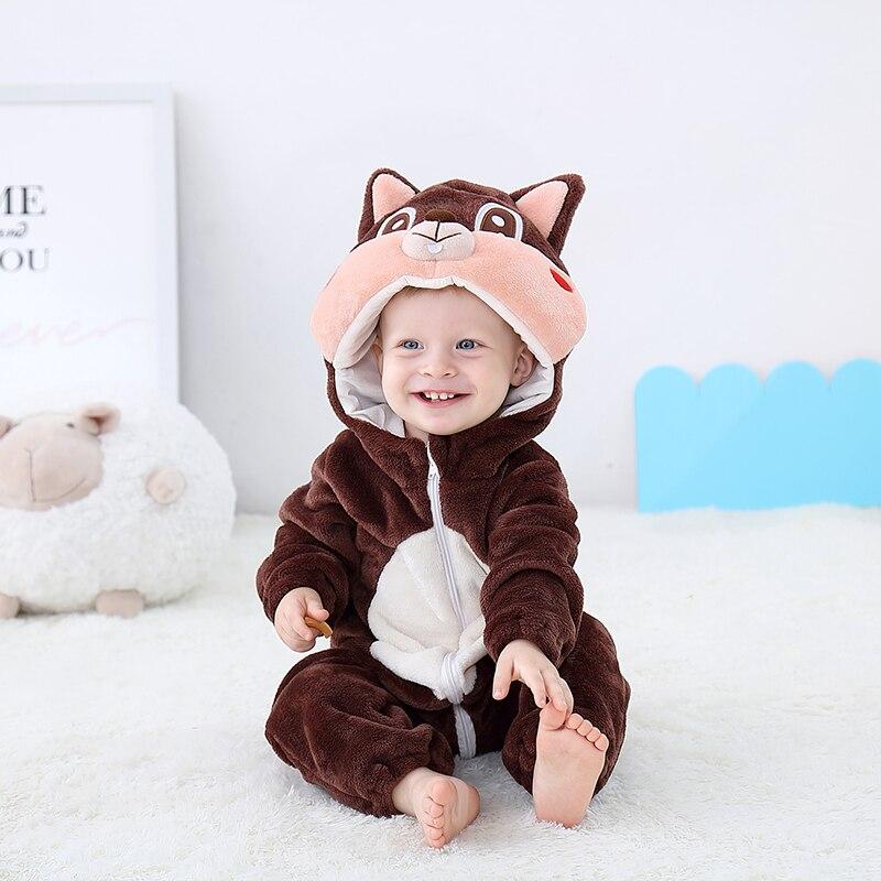 Newborn Baby Onesie Romper Cute Squirrel Baby Girl Boys Clothes Kigurumis Rompers Kid Infant Jumpsuit Warm Costume 0 2 years oldRompers   -