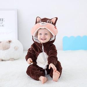 Image 1 - Newborn Baby Onesie Romper Cute Squirrel Baby Girl Boys Clothes Kigurumis Rompers Kid Infant Jumpsuit Warm Costume 0 2 years old