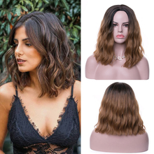 FREEWOMAN Brown Water Wavy Short Bob Wig Synthetic Wigs for