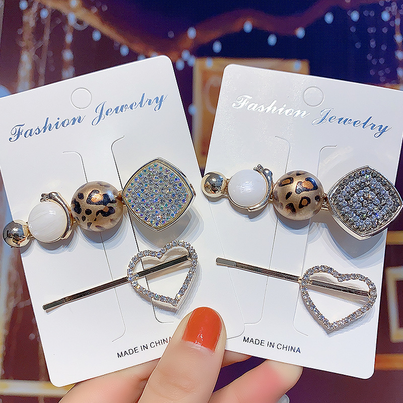 2Pcs/Set Heart Rhinestone Pearl Leopard Lady Hair Clip Hairband Bobby Pin Barrette Hairpin Headdress Accessories Beauty Styling