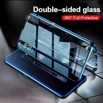 Перейти на Алиэкспресс и купить Металлические двухсторонние чехлы с закаленным стеклом для OPPO A52 A72 A92 A91 Realme 6 Pro A8 A31 2020 360, чехол для телефона Магнитный чехол