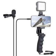 Smartphone Hand Grip Stabilizer Holder Livestream Youtube Vlog Video Kit w/ Lavalier Microphone for Android Mobile Cell Phone