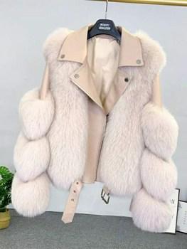 2021 winter new women real fox fur jackets short luxury whole skin genuine fox fur coat yellow color fashion natural fur coats 2020 Real Fur Coat Vest Winter Jacket Women Natural Fox Fur Genuine Leather Outerwear Streetwear Locomotive Warm