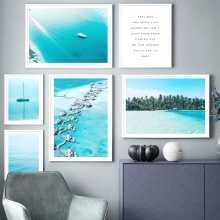 Sea Bridge House Coconut Tree Quote Wall Art Print Canvas Painting Nordic Posters And Prints Pictures For Living Room Decor