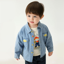 Blouse Tops Spring Denim-Shirt Baby Cotton Children's New Letter with Contrasting-Buttons