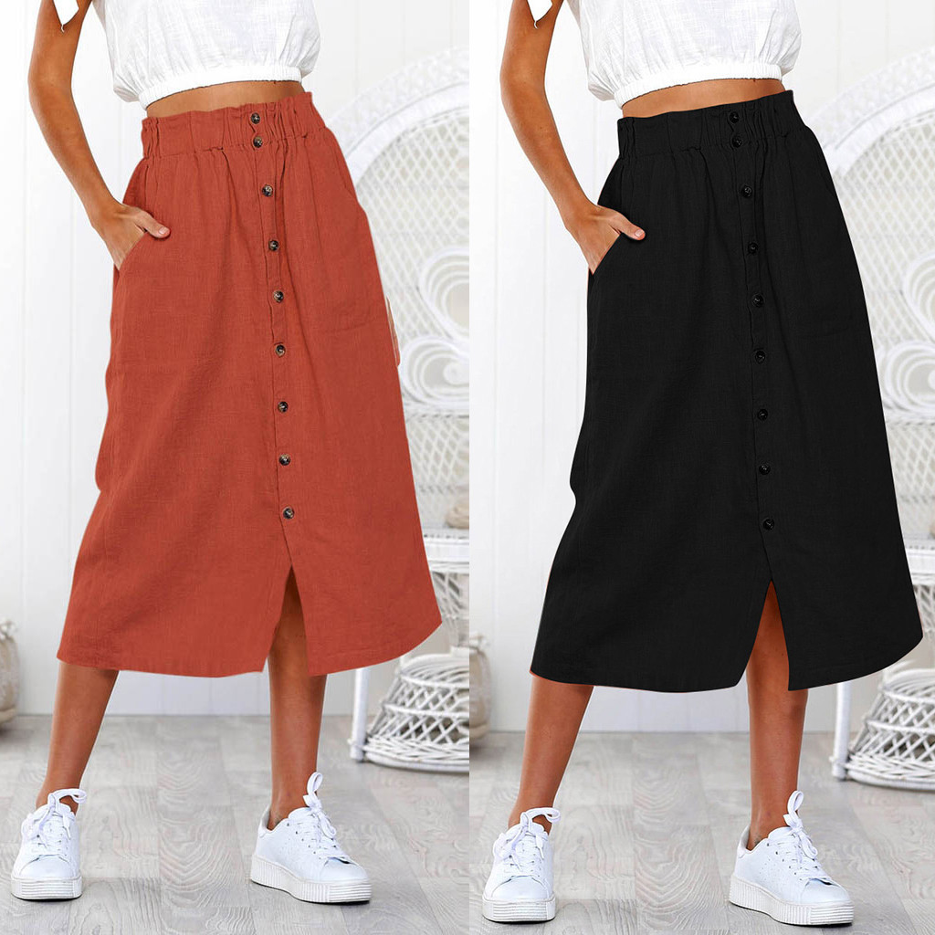 KLV 2019 Women's Skirt Daily Summer Bohemian Button High Waist Buckle Beach Wrap Long Y808
