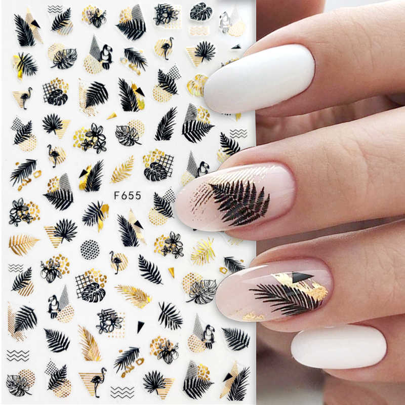1 Pcs Zwart Laser Gouden Herfst Blad 3D Nail Sticker Kokospalm Blad Patroon Lijm Transfer Sticker Shiny Diy Nail decoratie