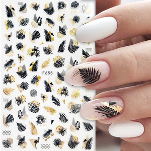 1pcs Black Laser Gold Autumn Leaf 3D Nail Sticker Coconut Tree Leaf Pattern Adhesive Transfer Sticker Shiny DIY Nail Decoration