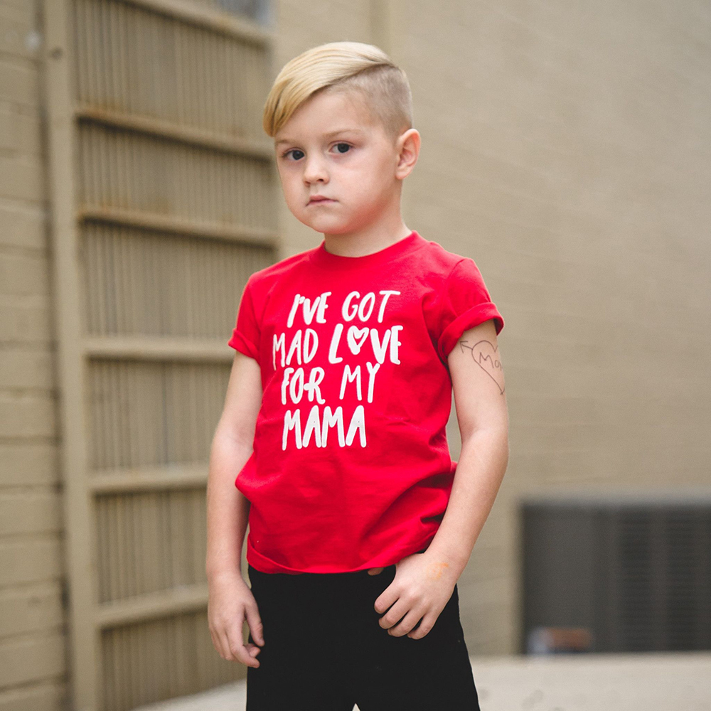 I've Got Mad Love for My Mama Funny Kids Tshirt Short Sleeved Toddler Boys Fashion T-shirt Casual Children Letters Printed Tees image