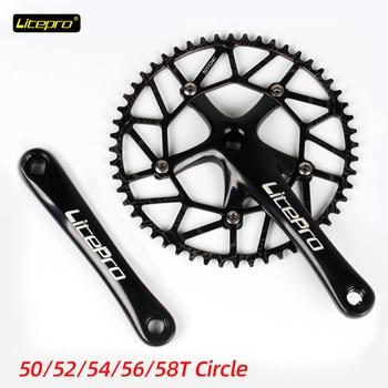 Litepro lp 130BCD cadena de bicicleta 50 52 54 56 58T aleación de aluminio de una sola cadena de discos rueda plegable bicicleta cuadrado agujero bielas