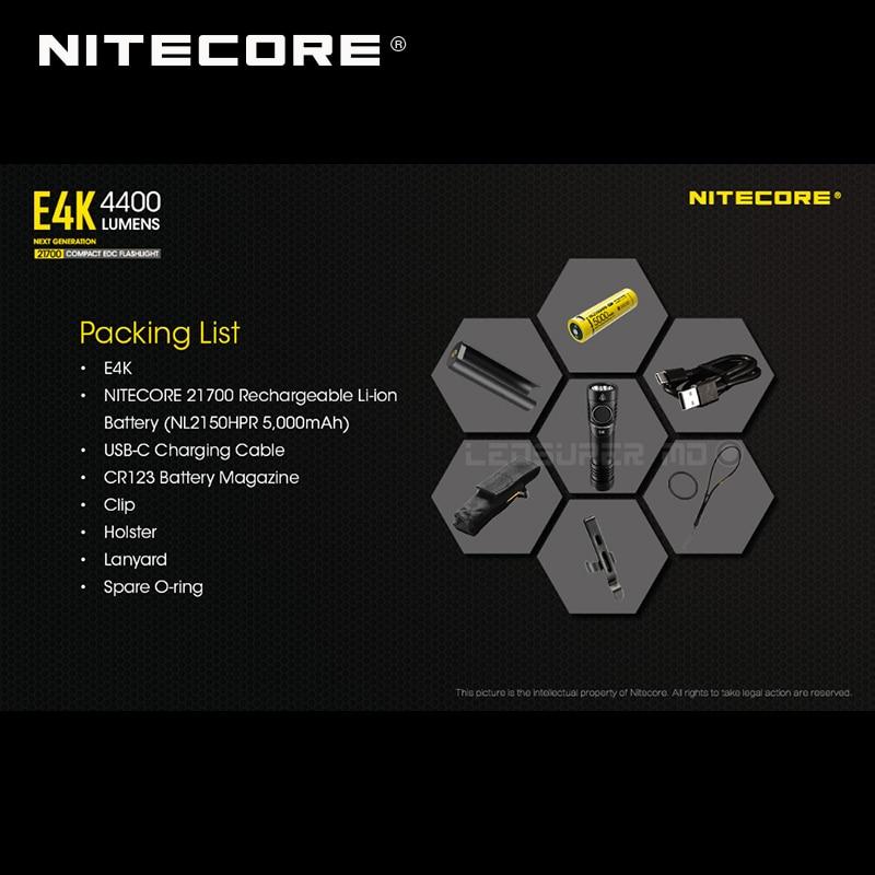 Image 2 - Próxima geração nitecore e4k 4400 lumens 4 x cree XP L2 v6 leds  21700 compacto edc lanterna com 5000 mah li ion bateriaheadlamp 1000  lumensnitecore hc30head torch