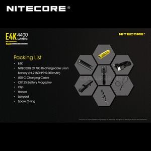 Image 2 - Yeni nesil NITECORE E4K 4400 lümen 4 x CREE XP L2 V6 led 21700 kompakt EDC el feneri ile 5000mAh Li ion pil