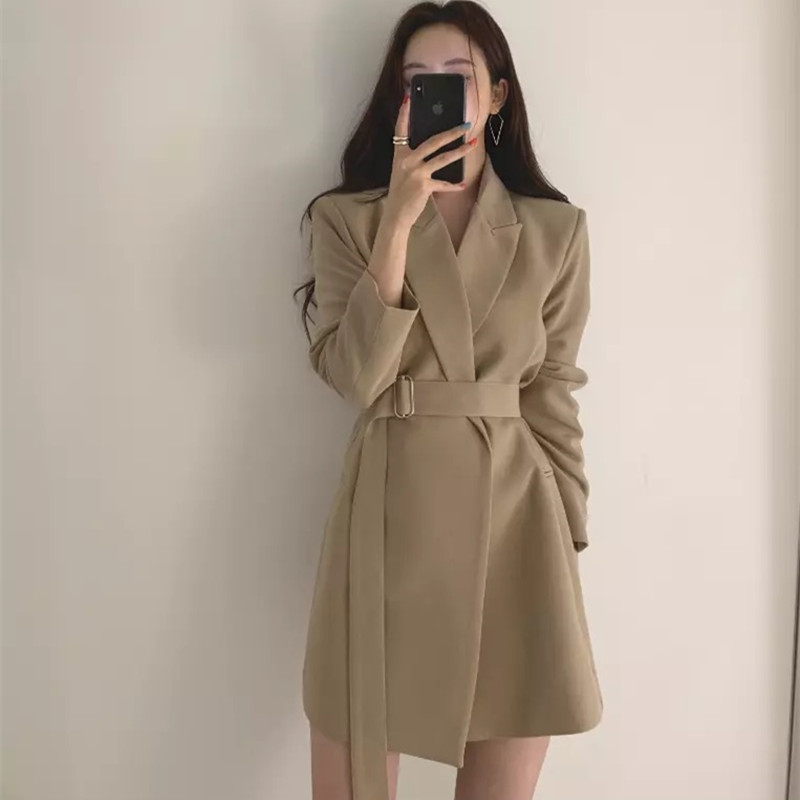 New 2020 Spring Women Blazer Dress OL Style Notched Collar Sashes Full Sleeve Slim Waist Female Short Dress Suit Jacket
