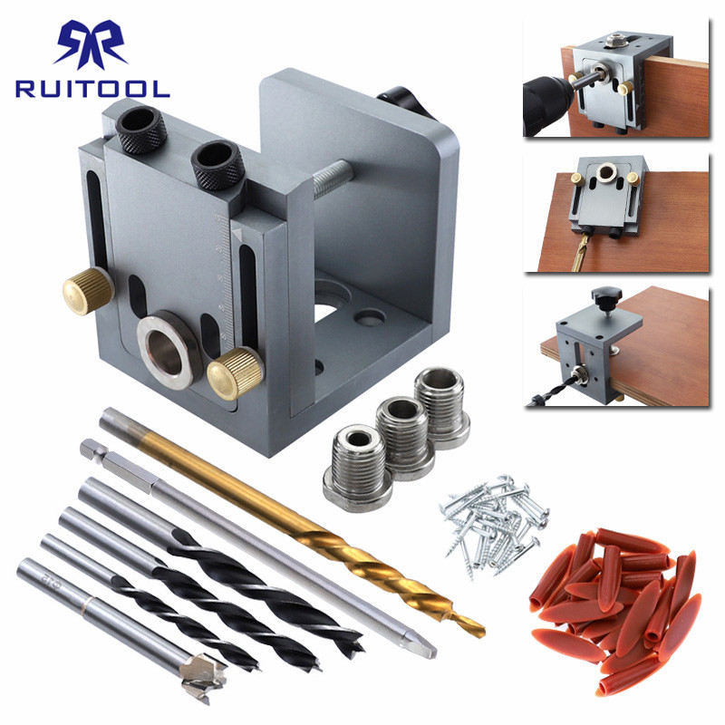 Pocket Hole Jig System 9.5mm Dowel Jig Aluminum Alloy Wood Jig Drill Locator Tool For Carpentry