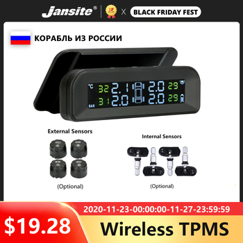 Jansite TPMS Car Tire Pressure Alarm Monitor System Real-time Display Attached to glass wireless Solar power tpms with 4 sensors