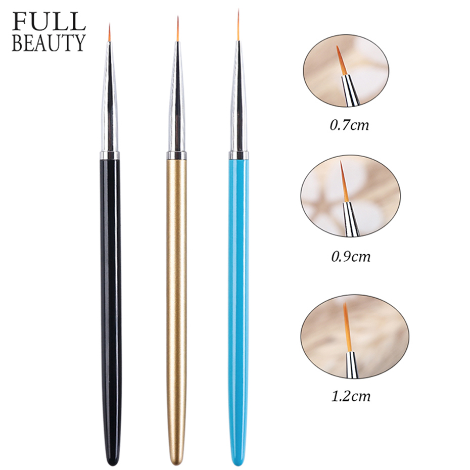 3pcs/Set Nail Art Liner Painting Brush Set Professional Painting Pen For Nail UV Gel Polish Drawing Line Manicure Tool CH1048