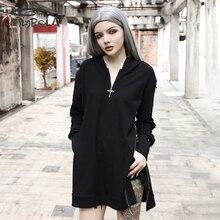 Imily Bela Gothic Casual Long Hoodies Women Loose Sleeve Cross Zipper Black Hooded Sweatshirt Oversized Pullover Streetwear