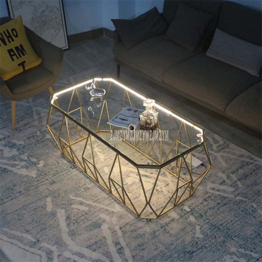 Mesa de té Rectangular nórdica con luz LED creativa de una capa de vidrio endurecido escritorio hierro arte pierna moderna mesa de sala