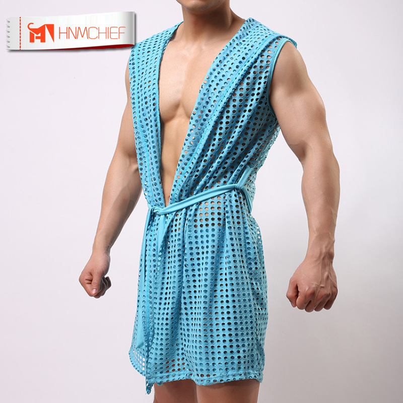HNMCHIEF Best Price Summer Dress Bath Robe Men Sexy Pajamas Sleepwear Silk Hooded Bathrobe Men Sexy Mesh Hollowbath 5 Color Set