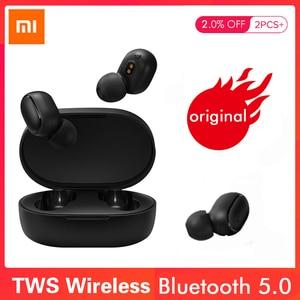 Image 1 - Xiao mi Red mi Airdots TWS słuchawki Bluetooth wersja młodzieżowa Stereo mi mi ni bezprzewodowy zestaw słuchawkowy Bluetooth 5.0 zestaw słuchawkowy z mikrofonem słuchawki douszne