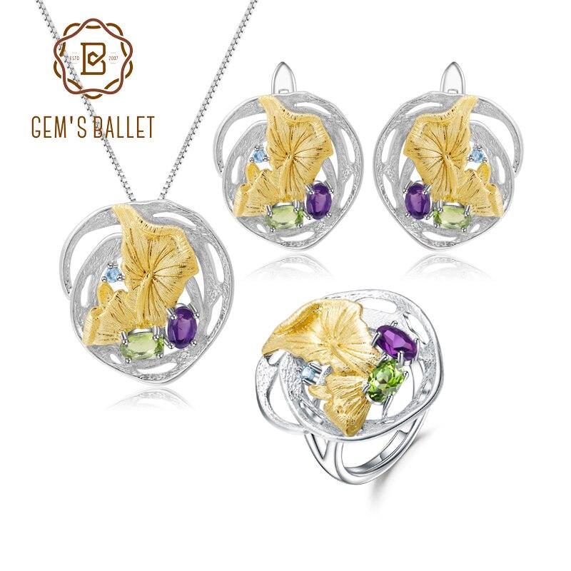 GEM'S BALLET Natural Peridot Amethyst Handmade Gemstone Ring Earrings Pendant Set 925 Sterling Silver Jewelry Set For Women