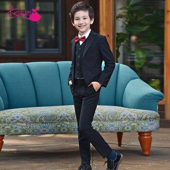 Flower Boys Suits for Wedding School Kids Prom Party Formal Blazer Pants Clothing Set Children Tuxedo Performance Costume