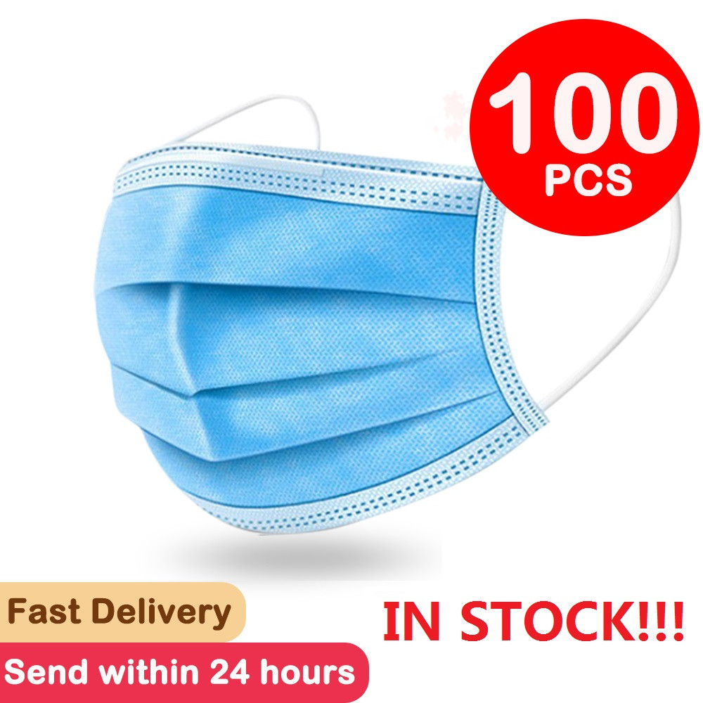 100 Pcs Face Mask Mouth Mask 3-laye Non Woven Mascarillas Anti-Dust Disposable Mask Filter Dustproof Earloop 24 Hours Shipping