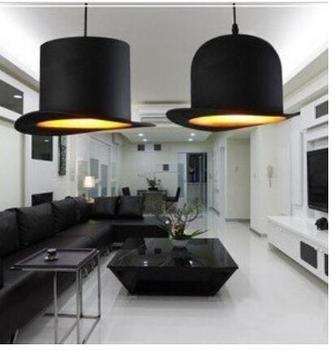 modern style lamp design items 110v 220v power e27 Jeeves Wooster Top Hat pendant lights hat light Outside Black Inside silver image