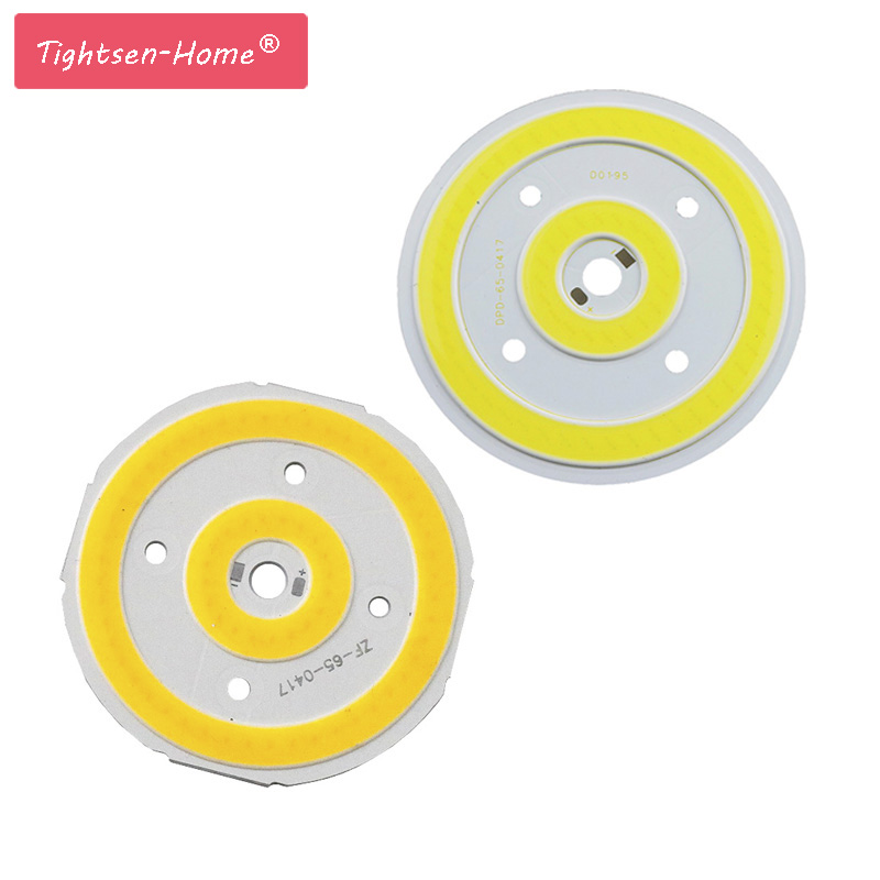 10W 65mm Round COB LED Pure White Warm Light Lamp Source Chips DC 12V 800MA  For Auto Lighting DIY Decor Lamp 3 Years Warranty