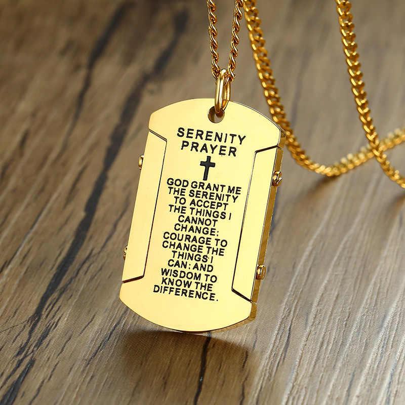 """ZORCVENS Mens Colar com """"Deus conceda-me serenidade"""" Religiosa Dog Tag Pingente de Aço Inoxidável Jóias Masculinas"""