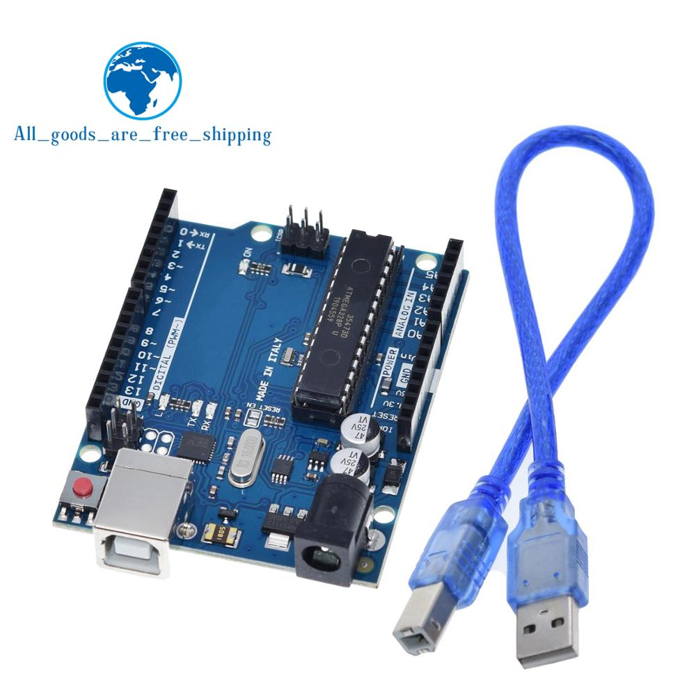 1 conjunto uno r3 caixa oficial atmega16u2 + mega328p chip para arduino uno r3 placa de desenvolvimento + cabo usb