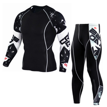 Print Sport suit men fitness clothing Tight compression sport clothes Jogger Running Sets Quick Dry gym Cycling Clothing