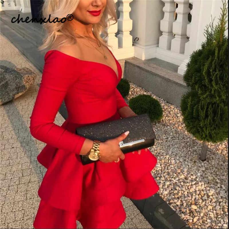 Venda Hot Red Vestidos Homecoming Satin A Linha Profundo Decote Em V Off The Shoulder Acima Do Joelho Vestido Curto do Regresso A Casa Vestidos de Festa