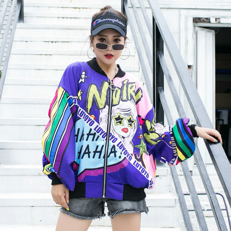 2020 New Autumn Print Coat Bomber Cartoon Jacket Batwing Long Sleeve Zipper Streetwear Loose Casual Lady Hip Hop Outwear