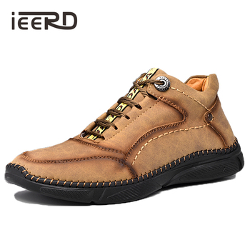 2020 New Leather Men Boots Winter Handmade Ankle Boots Khaki Outdoor Warm Boots Men Casual Leather Shoes Men Winter рюкзак tigernu t b3655 черный