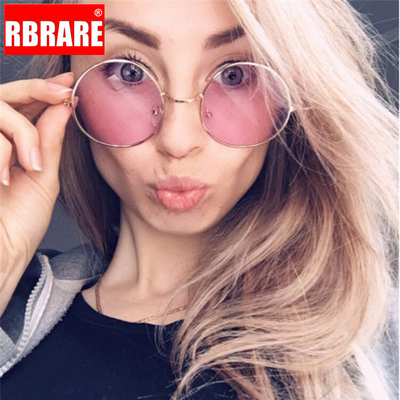 RBRARE 2019 Candy Color Round Sunglasses Women Fashion Sun Glasses Women Classic Vintage Alloy Oculos Pink Transparent Lens