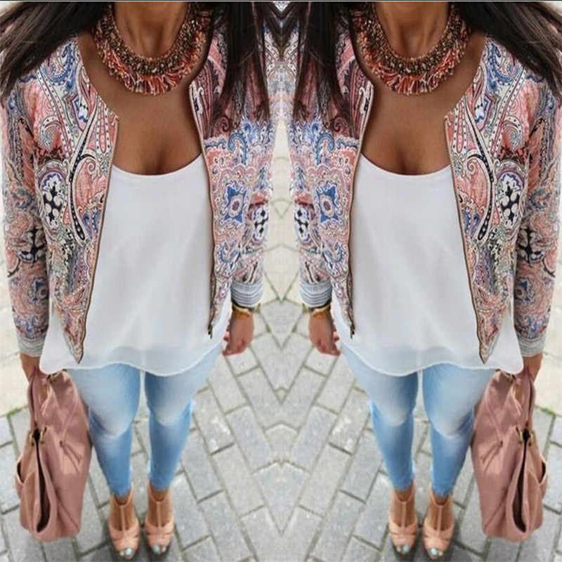 arrival Women Ladies Long Sleeve Retro Floral Zipper Up Bomber Jacket Casual  Spring Autumn Winter Coat Outwear Tops