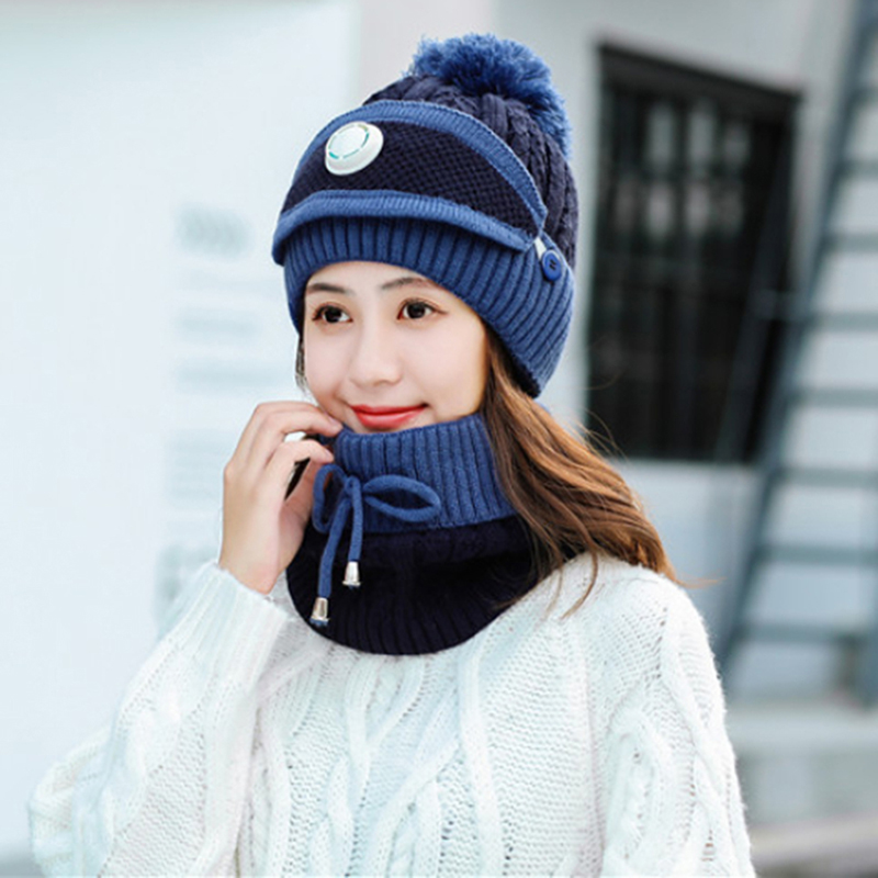 Women's Warm Hat Three-piece Suit With Breathing Valve Dust Mask Bib With Hat Easy To Breathe Warm And Cold Knitted Hat