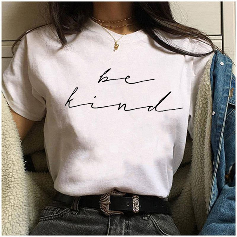 Letter Print T Shirt Women Casual Funny Harajuku T-shirt 2019 Tshirt Short Sleeve Round Neck Tee Tops