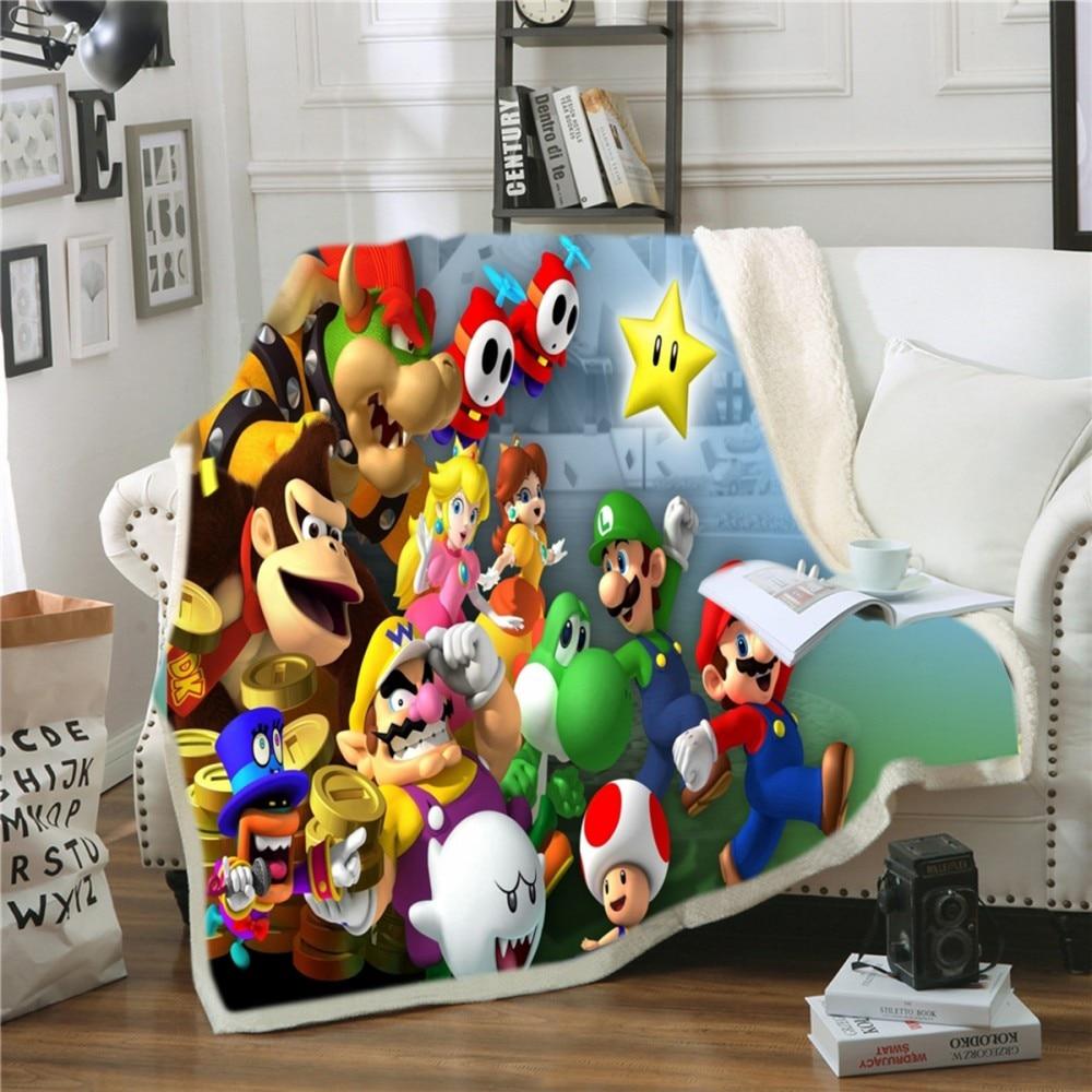 ThrowBlanket Super Mario Party Soft Coral Sherpa Fleece Blanket Winter Autumn Bed Sheet Cozy Knee Blanket Office Nap Blanket|Blankets| |  - title=